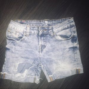 7 For All Mankind Girls Distressed Denim Shorts